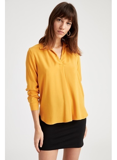 DeFacto Uzun Kollu Bluz Sarı